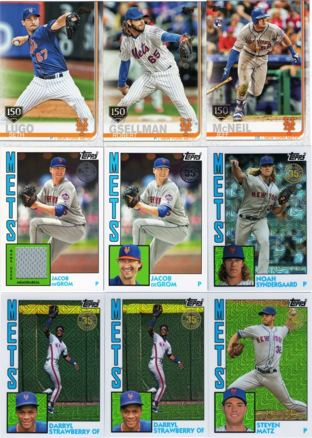 2019 Topps Series 1 Mets inserts/parallels a Mets relic and silver pack 1984 chrome cards