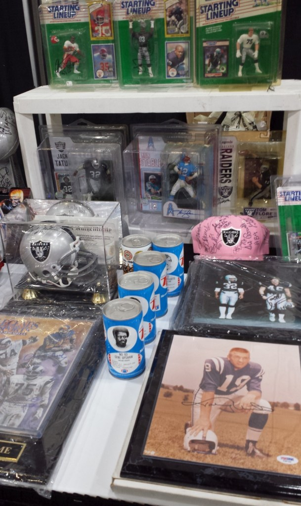 Assorted sports memorabilia at the 2019 West Coast Collectors Expo