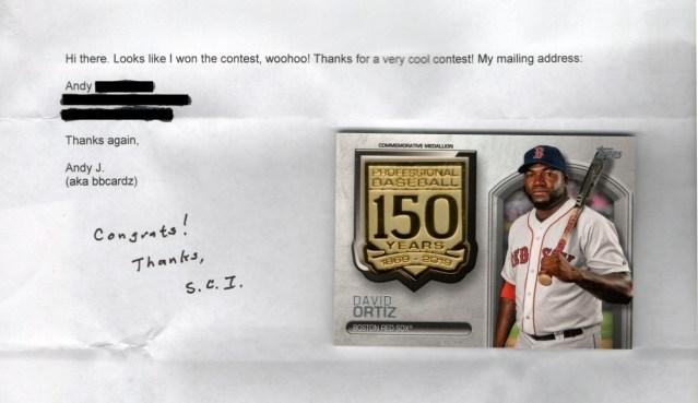 Congratulatory letter from sportscardinfo.com