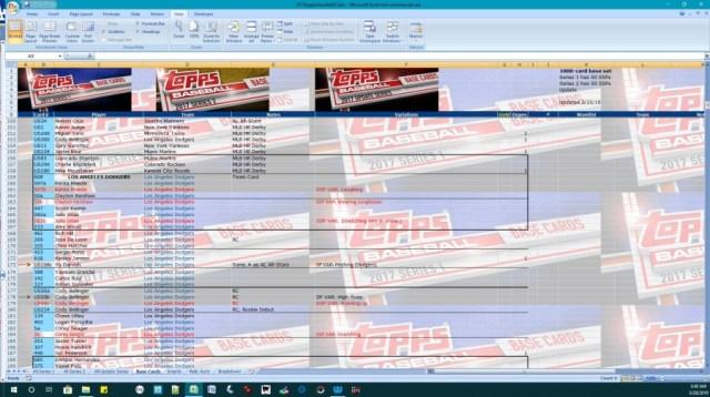 Screenshot: 2017 Topps flagship spreadsheet