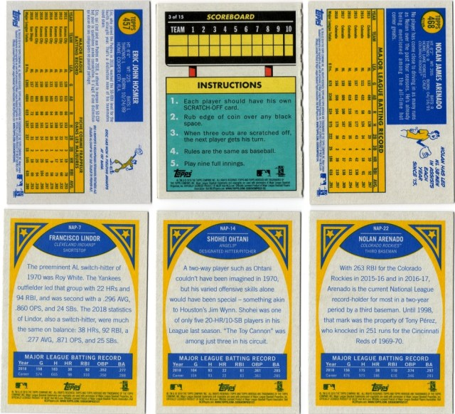Assorted 2019 Topps Heritage inserts and variations (backs)