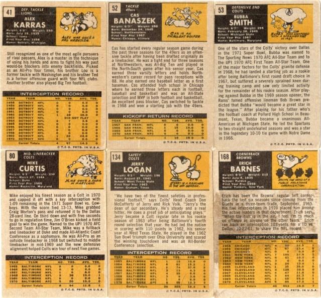 1971 Topps football cardbacks