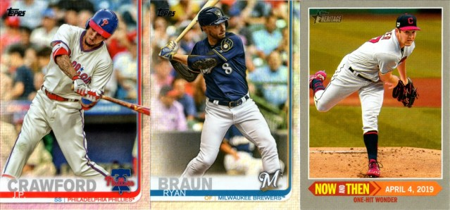2019 Topps Rainbow Foil #15 and #614, 2019 Topps Heritage Now And Then NT-6 (Trevor Bauer)