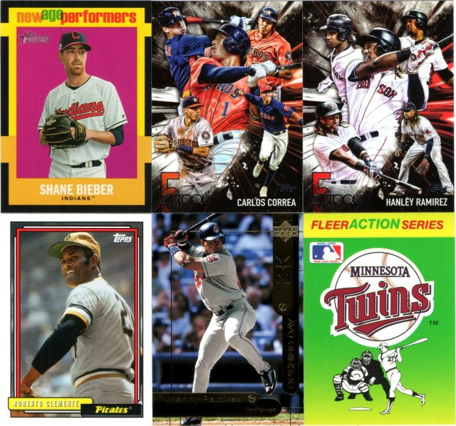 2020 Topps Heritage New Age Performers insert #NAP-13, 2017 Topps 5 Tool inserts #5T-10 & #5T-34, 2017 Topps Archives #201, 2000 Opening Day 2K #OD20, 1990 Fleer Action Series Team Stickers Minnesota Twins