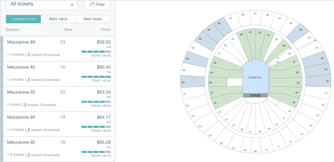 stubhub tickets screen. See tickets and a seating chart
