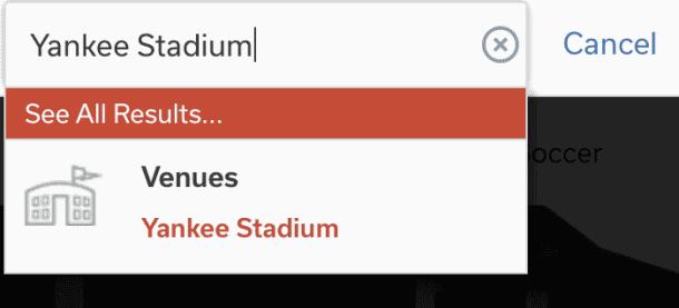 suitehop stadium suite search bar on website.