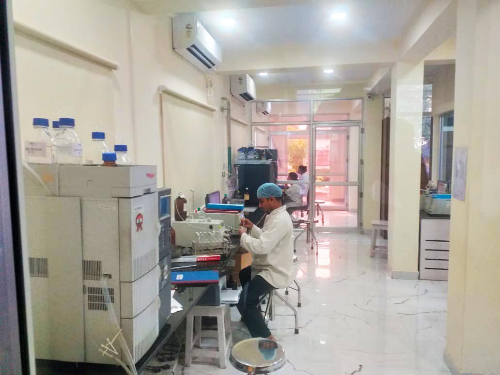 Chemists working in Stadmed's Q. C. Lab to assure standards are always maintained.