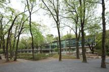 森の中の宿泊研修施設:森の中に佇む外観