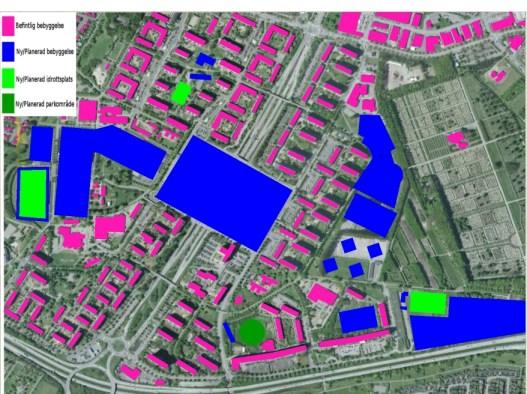 Rosengård karta - Befintlig och ny bebyggelse