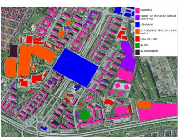 Rosengård karta – Olika funktioner