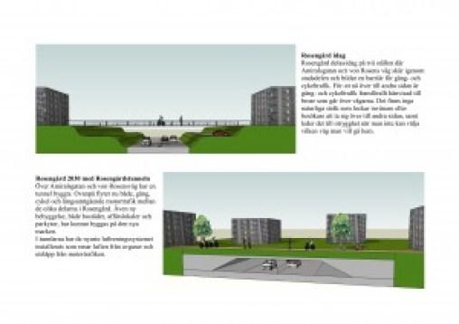 Rosengård idag Rosengård delas idag på två ställen där Amiralsgatan och von Rosens väg skär igenom stadsdelen och bildar en barriär för gång- och cykeltrafik. För att nå över till andra sidan är gång- och cykeltrafiken framförallt hänvisad till de broar som går över vägarna. Det finns inga naturliga stråk som lockar invånare eller besökare att ta sig över till andra sidan, samt leder det till otrygghet när man inte kan välja vilken väg man vill ta när man går hem.  Rosengård 2030 med Rosengårdstunneln Över Amiralsgatan och von Rosensväg har en tunnel byggts. Ovanpå flyter nu både, gång-, cykel- och långsamtgående motortrafik mellan de olika delarna i Rosengård. Även ny bebyggelse, både bostäder, affärslokaler och parkytor, har kunnat byggas på den nya marken. I tunnlarna har de nyaste luftreningssystemet installerats som renar luften från avgaser och utsläpp från motortrafiken. (Bild: Ulf Liljankoski)