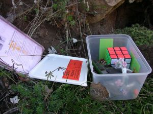 En geocachingskatt. Skriv in ditt namn på pappret som ligger i burken.