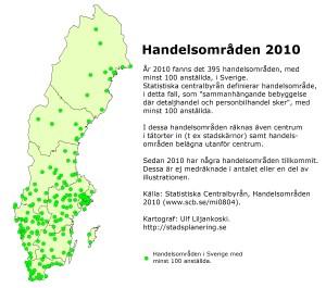 Handelsområden 2010. Källa: Statistiska centralbyrån. Kartograf: Ulf Liljankoski