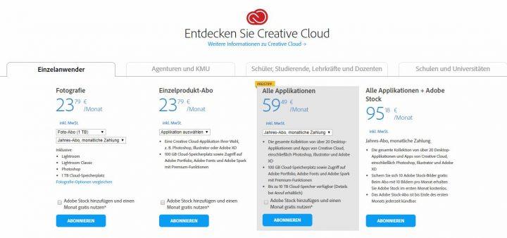 Adobe Abo Preise