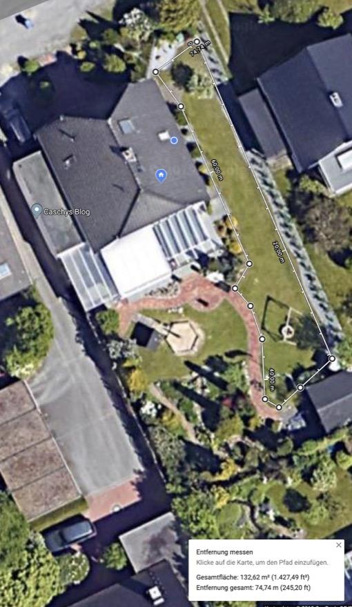 google maps entfernungen und gr en von grundst cken. Black Bedroom Furniture Sets. Home Design Ideas
