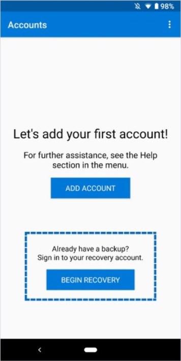 Beim Einrichten eines neuen Geräts könnt ihr nun die Recovery-Option der App nutzen