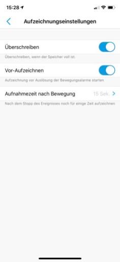 reolink-e1-pro-app-aufnahmeeinstellungen