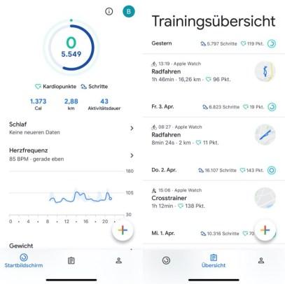 Und hier das neue Design von Google Fit für iOS/Android