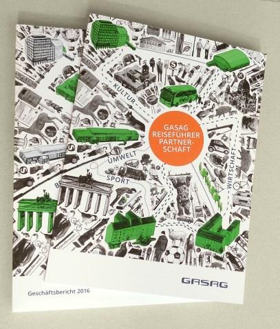 Magazin und Geschäftsbericht 2016 der GASAG mit umlaufender Coverillustration