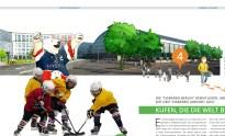 Illustration der Eisbären mit Maskottchen vor Sporthalle für das Kapitel Sportsponsoring