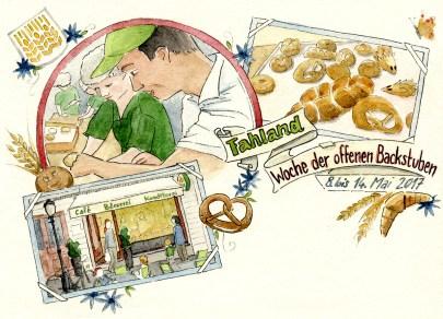 Illustrierte Postkarte der Bäckerei Fahland mit Cafészenen, handgeschriebener Schrift und Dekor