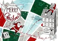 Urbane Weihnachtskarte mit Haus, Weihnachtsmann und Stadtplan