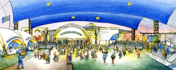Visualisierung vom Hauptzelt unter der Europaflagge