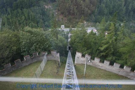Burg Hohenwerfen mit der Drahtseilbahn wieder ins Tal