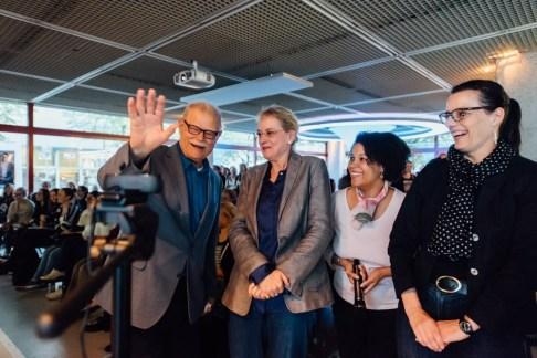 Begrüßung durch die Stadtbibliothek und die Kooperationspartner, Foto: Amerika Haus e.V. NRW