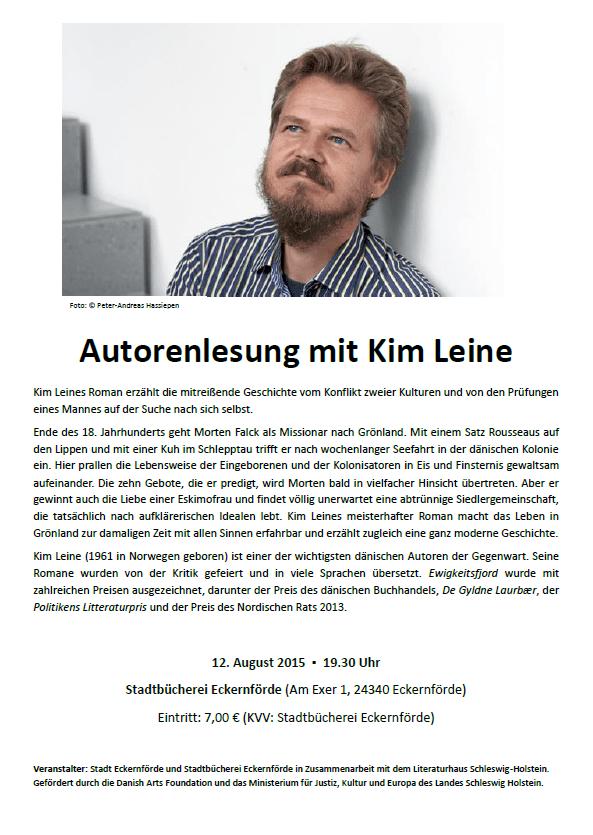 Plakat für die Veranstaltung mit Kim Leine am Mitwoch, den 12.08.2015, um 19:30 Uhr in der Stadtbücherei Eckernförde