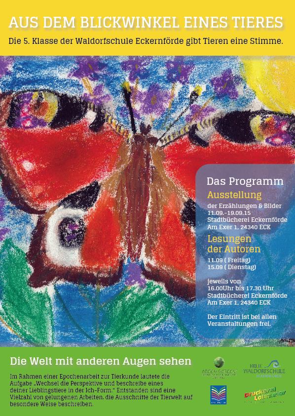 Poster zu der Ausstellung der Waldorfschule in der Stadtbücherei