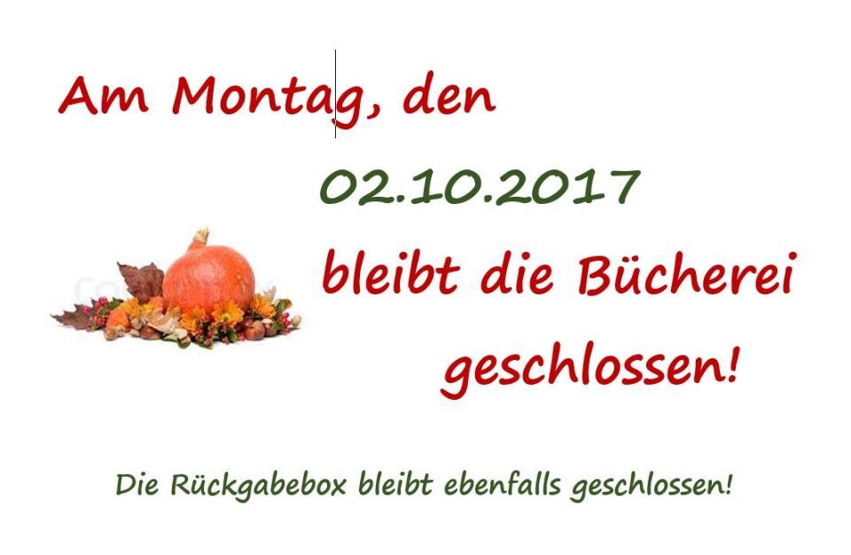 Büchereischliessung 02.10.2017