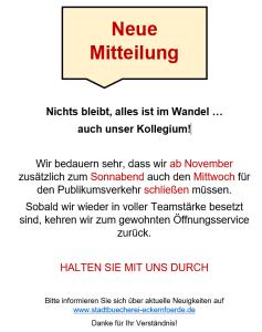 Öffnung November