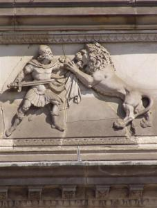 Kölns Bürgermeister Grin kämpft mit dem Löwen