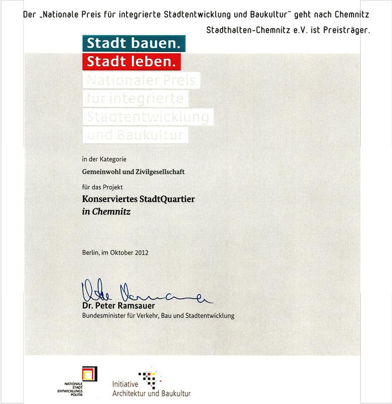 Urkunde zum: Nationalen Preis für integrierte Stadtentwicklung und Baukultur an Stadthalten-Chemnitz e.V.