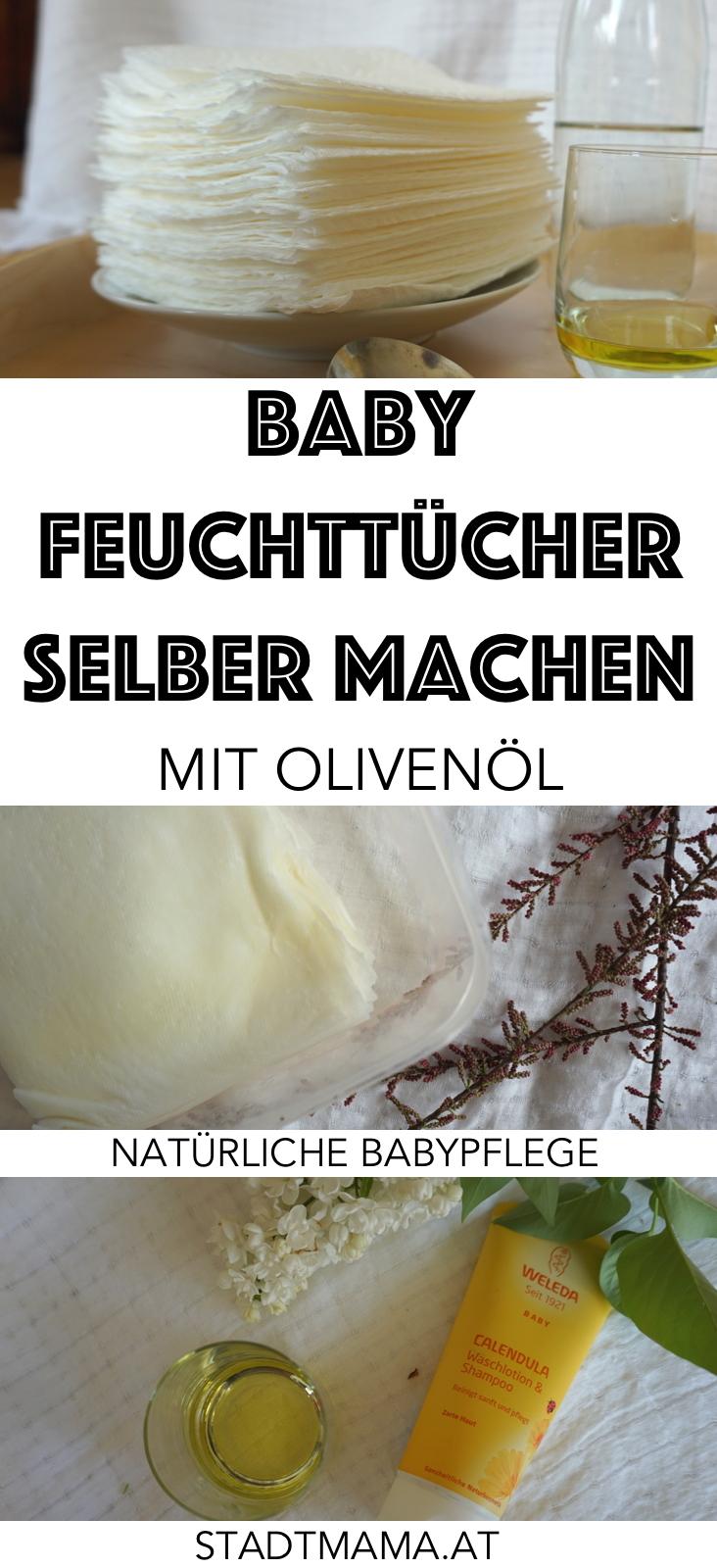 Baby Feuchttücher kann man ganz einfach und natürlich selber machen: Mit Olivenöl, Küchentuch und Baby-Pflegeseife. Simple DIY Anleitung für Feuchttücher die wir schon seit Jahren verwenden.