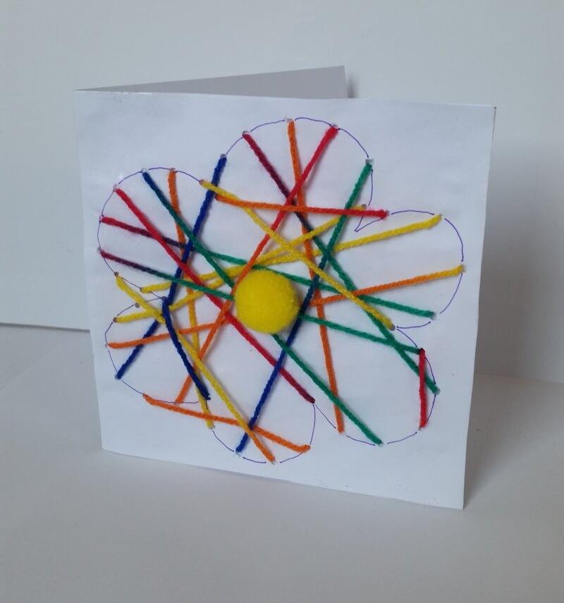 basteln mit kindern blumenkarten n hen aus wollresten. Black Bedroom Furniture Sets. Home Design Ideas