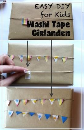 Geschenke einpacken mit Washi Tape Girlanden. Kann man auch gan einfach mit Kindern basteln. Super einfaches DIY!