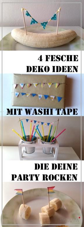 4 fesche Deko Ideen für die nächste Kinderparty aus Washi Tape. Waschi-Tape Girlanden passen fast überall und kann man leicht mit Kindern basteln.