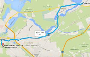 Route zum Abenteuerpark Potsdam Google Maps
