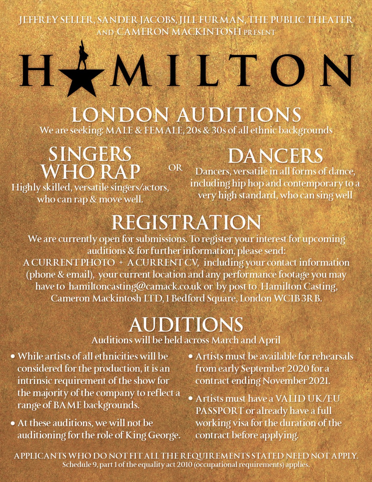 hamilton auditions london west end 2020