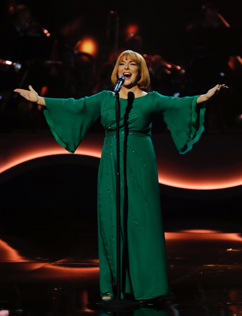 Sheridan Smith as Cilla performing. Picture: ITV/Matt Frost