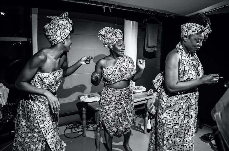 Danielle Kassarate as Doris, Landi Oshinowo as Jarene and Rosemary Annabella Nkrumah as Darlene in The Color Purple - at Home. Photography by Pamela Raith