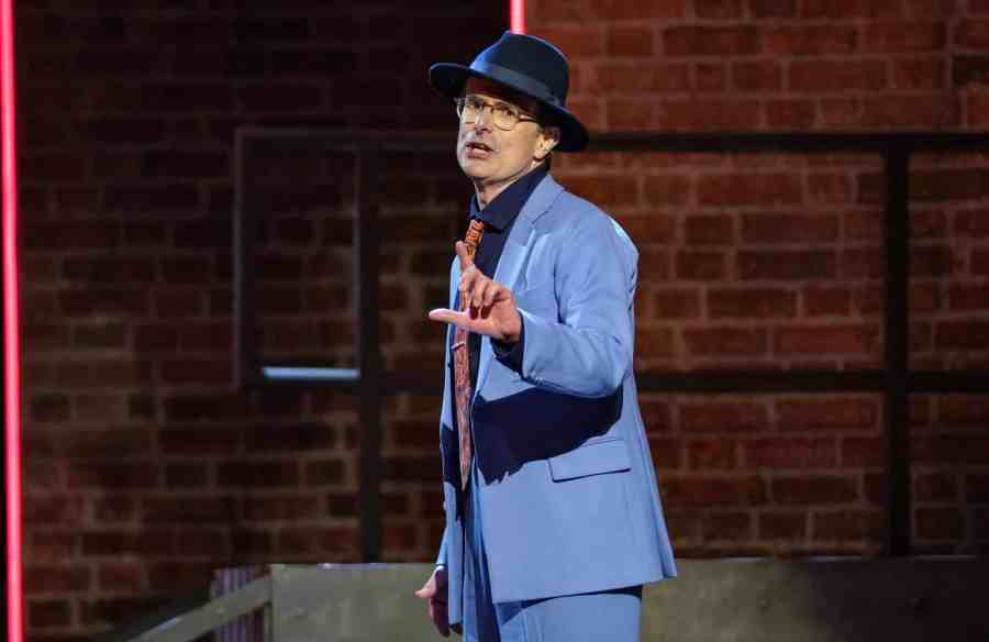 Robert Peston performs Luck be A Lady from Guys and Dolls. Picture: ITV