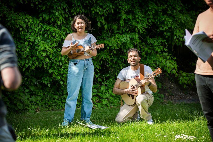 As You Like It Rehearsals: Ami Okumura-Jones and Omar Baroud. Picture: Pamela Raith Photography.