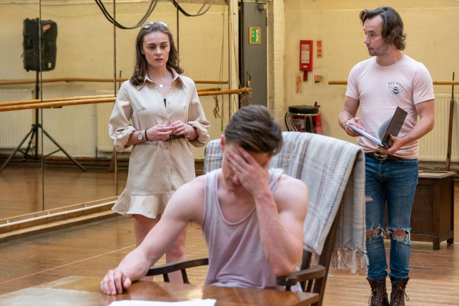 Georgia Lennon, Sam Kipling and Michael Pickering, Lady Chatterley's Lover rehearsals (credit Bonnie Britain)