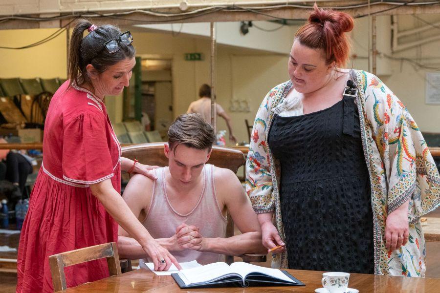 Sasha Regan, Sam Kipling and Emma Lindars, Lady Chatterley's Lover rehearsals (credit Bonnie Britain)