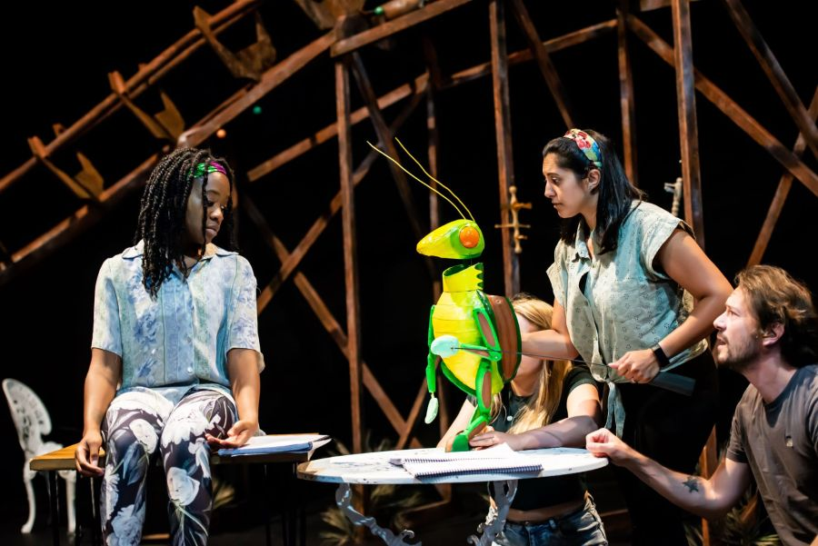 Cassandra Hercules, Serin Ibrahim and Anthony Spargo in rehearasal for Pinocchio at Greenwich Theatre (credit Lidia Crisafulli)