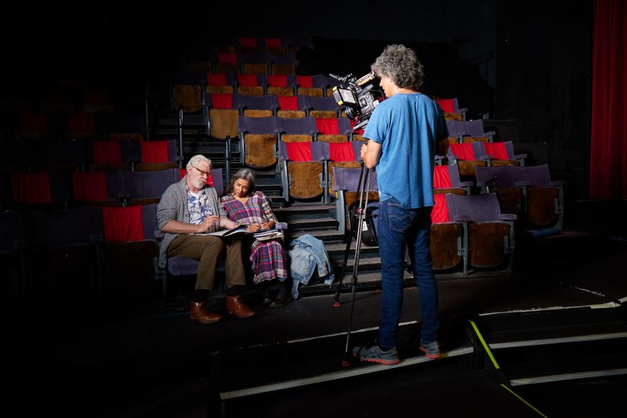 Matthew Kelly and Shobna Gulati filming Going the Distance directed by Felicity Montagu. Photo by Ian Wallman