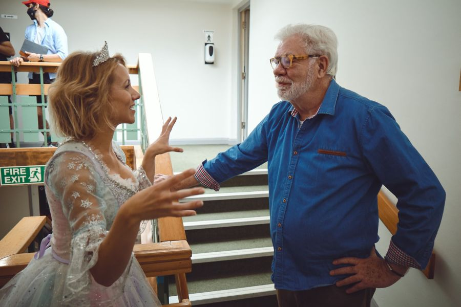 Nicole Evans and Matthew Kelly filming Going the Distance directed by Felicity Montagu. Photo by Ian Wallman.
